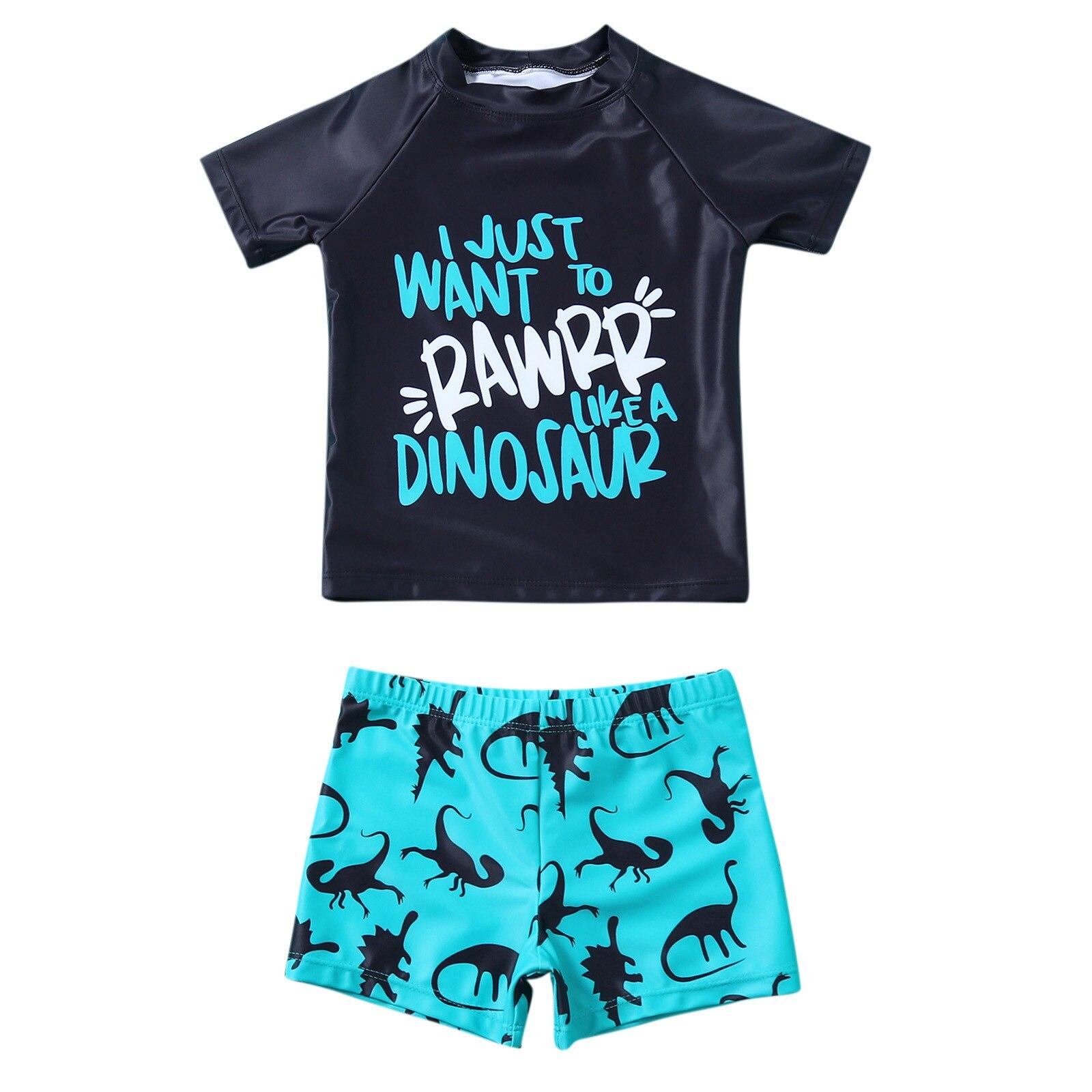 Toddler Kids Baby Boys Swimwear Cartoon Letter Dinosaur Print T Shirt Shorts Set Summer Swimsuit Swimming Beachwear Outfits