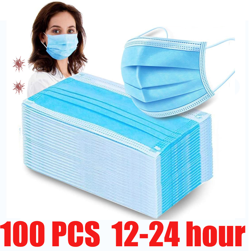 100pcs Face Anti-Mouth Dust Mask Use And Drop Protect 3-Layers Anti-Dust Filter Earloop Tissue Non-woven Mouth 12-24 Hour