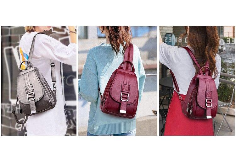 Women's Vintage Leather Backpack 23