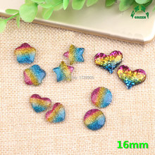 Slime Charm Beads Rainbow colorful Heart Star Round Geometric 10pcs 16mm Resin Cabochon for DIY Phone Case Handmade Art Craft(China)