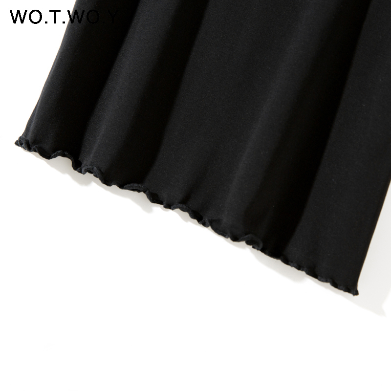 Ruffles Summer T Shirt Women Cotton Casual Solid T-Shirt Women Korean Tops Tee Shirt Femme Slim Black Tshirt Harajuku New
