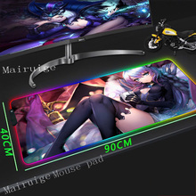 Mairuige Anime Black Stockings Temptation Girl HD Large Game RGB Mouse Pad Lock-edge Computer Desk Mat Non-slip Rubber Stripe