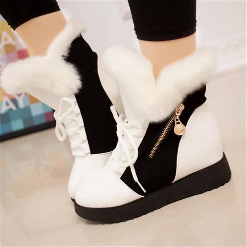 Platform Boots Women Warm Snowboots Womens Winter Shoes Black White Boots Wedge Fur Boots Sneakers Women Casual Cotton Shoes