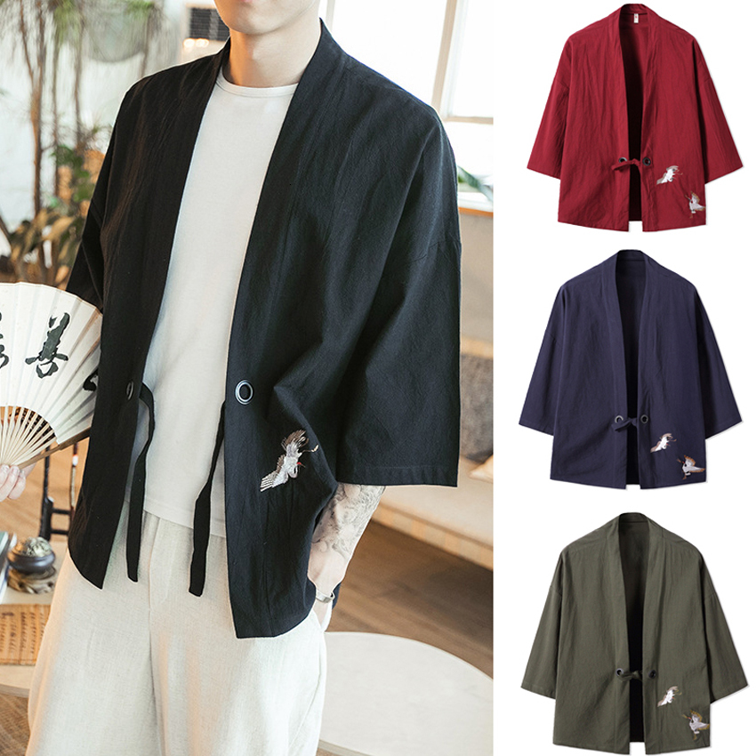 Asian Harajuku Style Summer Men Japanese Kimono Haori Cotton Crane Sunscreen Cardigan Coat Comfortable Woman Couple's Clothing