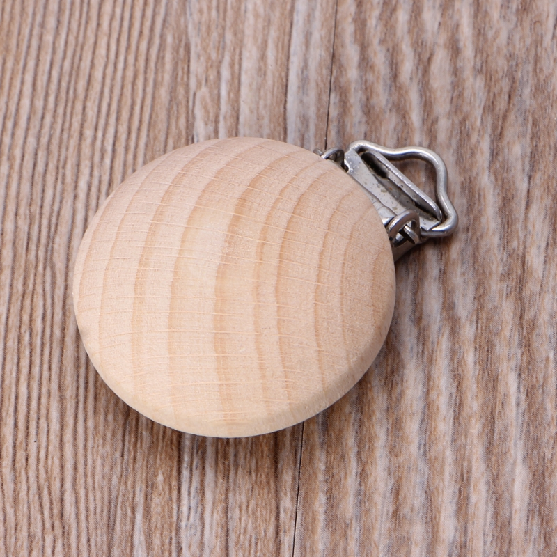 35mm Beech Wood Pacifier Clip Unfinished Nipple Holder DIY Pacifier Clips Chain U50F