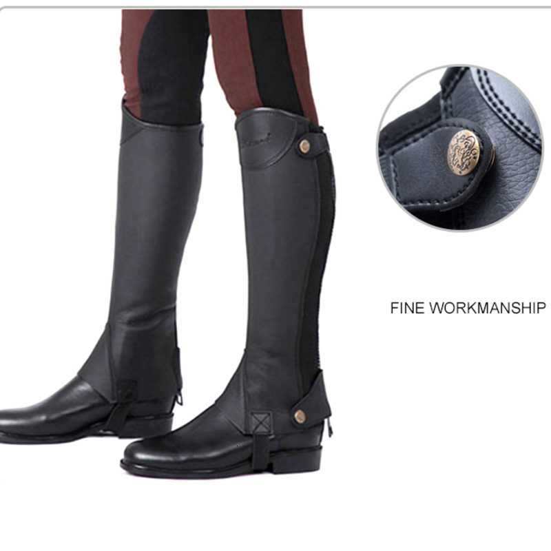 Equestrian Leggings Microfiber PU Horse Riding Boots Cover Adults Children Leg-protector Paarden Equitation Equipement Cheval 3