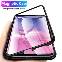 Magnetic Metal Phone Case For iPhone 11 Pro Max Case For iPhone X XS Max XR 6 6S 7 8 Plus Single Side-sided Tempered Glass Cover privacy tempered glass magnetic case for iphone 11 pro max xs max xr x 8 7 6s 6 plus se magnet metal bumper anti peeping cover