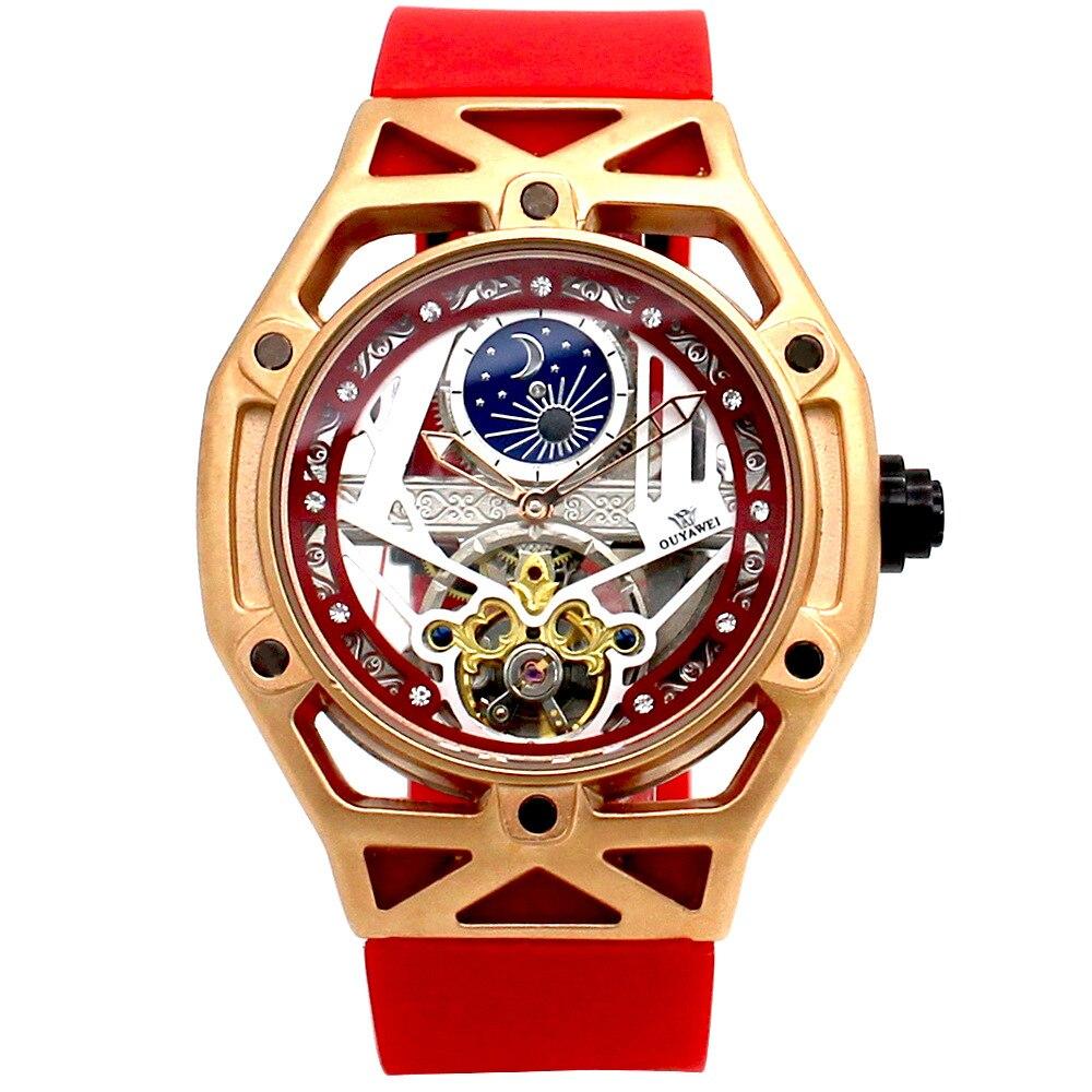 AaawatchMen's Fashion Tourbillon Skeletonized Mechanical Watch.  Rubber Watch Strap.  Sun Moon Star Table.