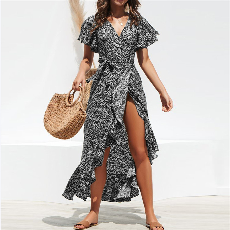 Summer Beach Maxi Dress Women Floral Print Boho Long Chiffon Dress Ruffles Wrap Casual V-Neck Split Sexy Party Dress Robe
