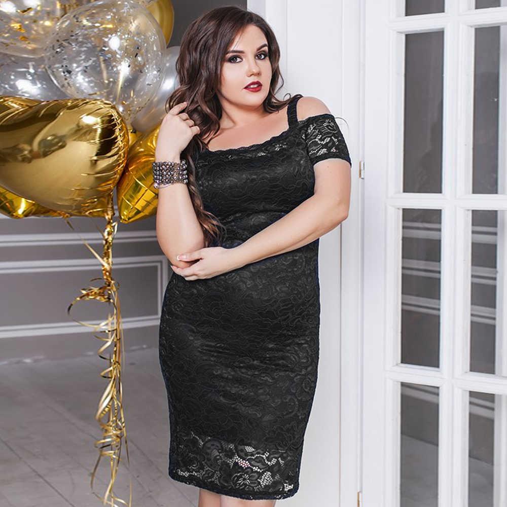 2019 женское платье летние платья плюс размер 5XL черное кружевное сексуальное облегающее готическое платье с открытыми плечами винтажные Вечерние платья vestido D35