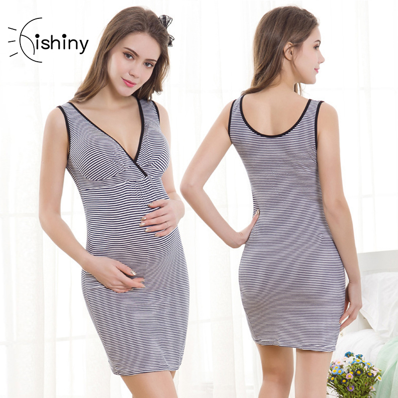 Hishiny Summer striped Maternity Dress Crossing breastfeeding Lactation Vest Skirt pregnancy clothes pregnant nursing top sex