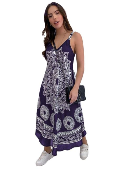 Fashion Women Sleeveless Casual Maxi Dress Printed, Long Dresses Laides V-neck Loose Sundress Party Dresses Mujer Vestido 1