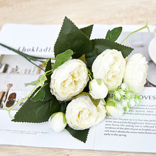 Artificial Rose Flower Silk European Style Bouquet Fake Flowers Small Bud Roses Bract Simulation Wedding Home Party Decoration 9 heads silk roses bouquet fake leaf wedding home party vases for new year decoration european fall cheap artificial flowers