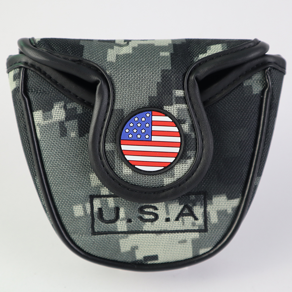 Golf Putter Cover USA American National Flag Golf Mallet Putter Head Cover Protector Magnetic Closure