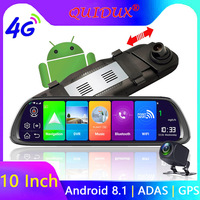 QUIDUX 4G ADAS Car DVR Camera 10Android 8.1 Stream Media Rear View Mirror FHD 1080P WiFi GPS Dash Cam Registrar Video Recorder