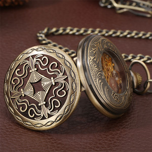 Image 3 - Bronze Hollow Mechanical Hand Winding Antique Pocket Watch Classic Antique Pocket Pendant Clock with Fob Chain