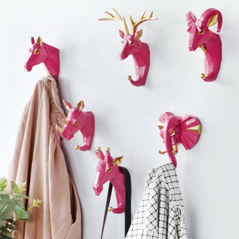 New Creative Decorative Hooks Animal Deer Head Hooks Wall Coat Cap Hook Hanging Keys Holder Wall Home Decoration Accessori Haken