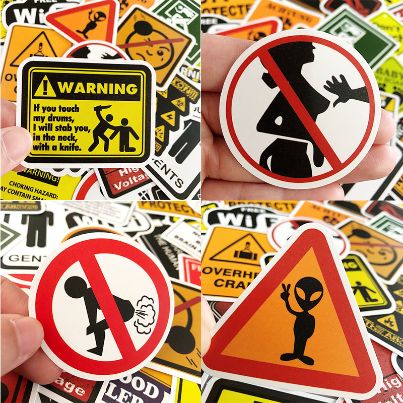 50PCS Caution Sign Warning Graffiti VSCO Girl Things Fun Sticker For Wall Luggage Phone Scooter Car Skateboard Waterproof Toys