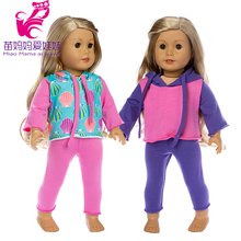 soft touch Doll casual clothes and pants for 43cm baby doll clothes 18 inch doll elastic outfit baby girl birthday new year gift baby doll jean dress with legging for 18 inch girl doll jeans clothes and long socks baby doll clothes
