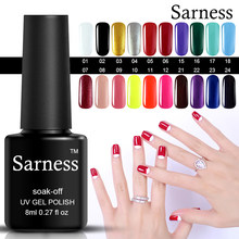 Sarness Nail Art Semi Permanent regularne lakiery do paznokci kolory 8ML DIY francuski żelowy lakier do paznokci uv Manicure Soak Off baza i Top Gel(China)
