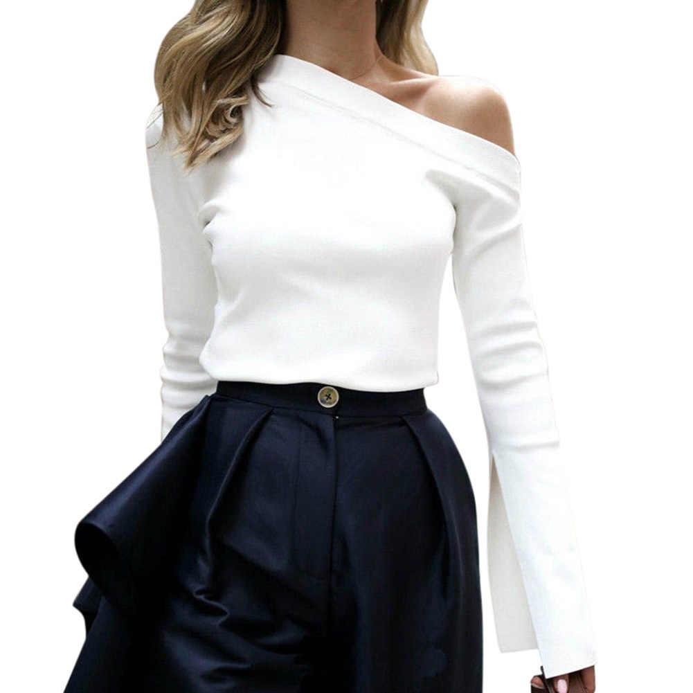 Горячая осень зима женская рубашка Сплит длинный рукав одно плечо сплошной цвет Топы Леди Повседневная IE998