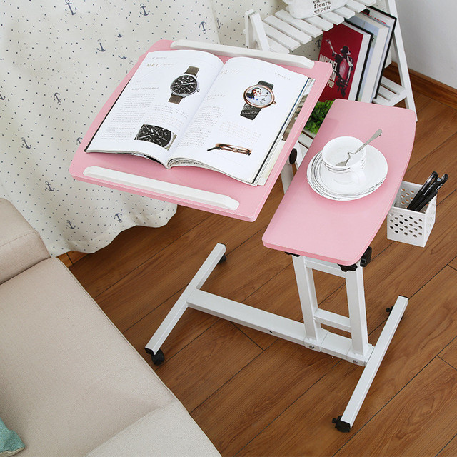 Foldable Computer Laptop Table Adjustable Portable Desk Stand for Bed Can be Lifted Standing Desk W/ Mouse-Pad Bedroom Furniture