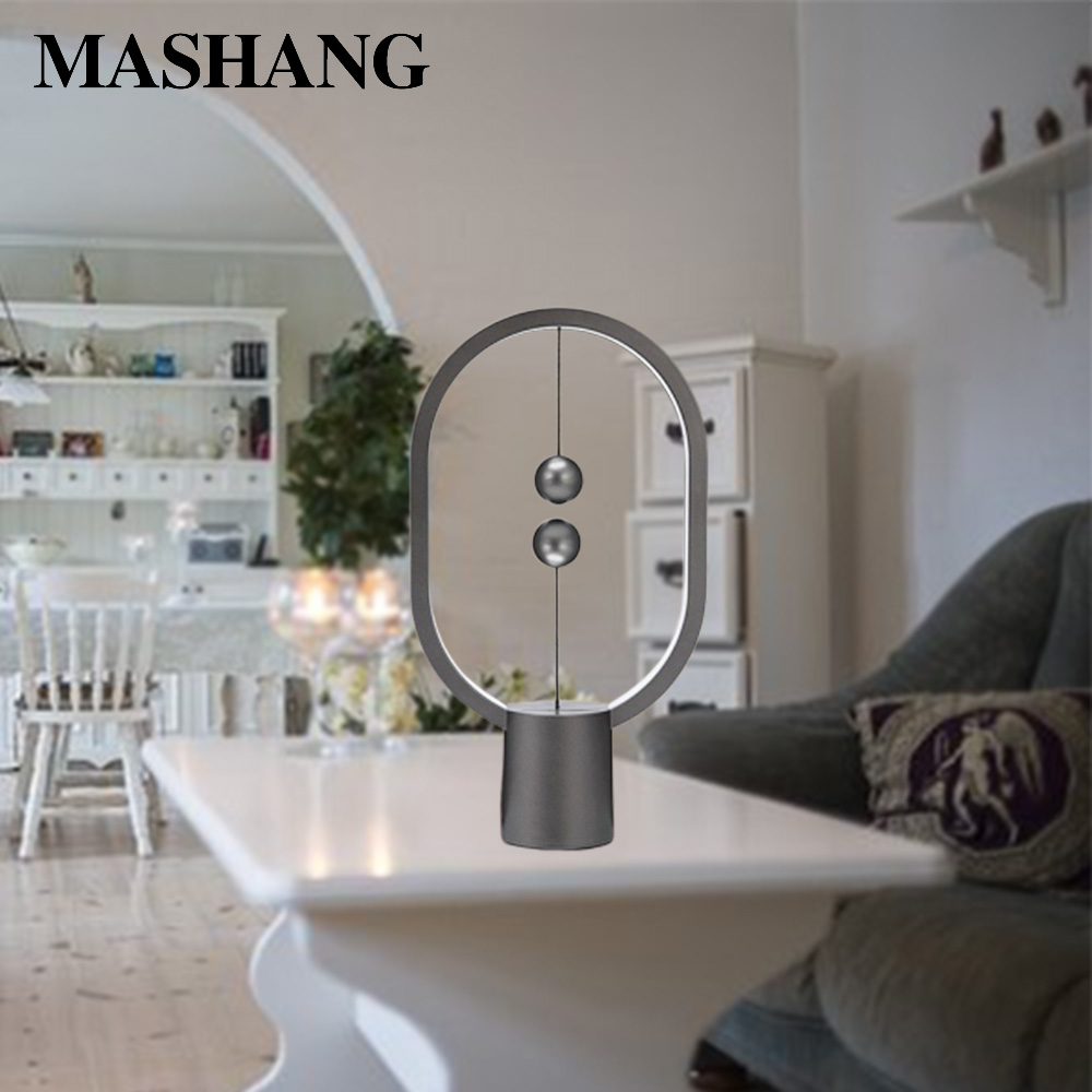2019 New Led Balance Lamp Novel Table Lamp Bedroom Night Light Magnetic Mid-air Switch for Home Decoration Light
