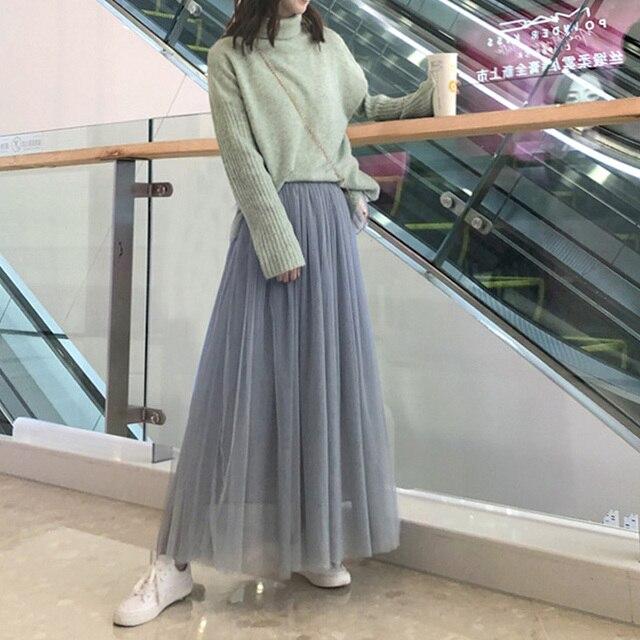 OHRYIYIE Maxi Long Tulle Skirt Women 2021 High Waist Ball Gown Skirts Summer Elastic Waist Adult Tutu Skirts Jupe Longue Femme 4