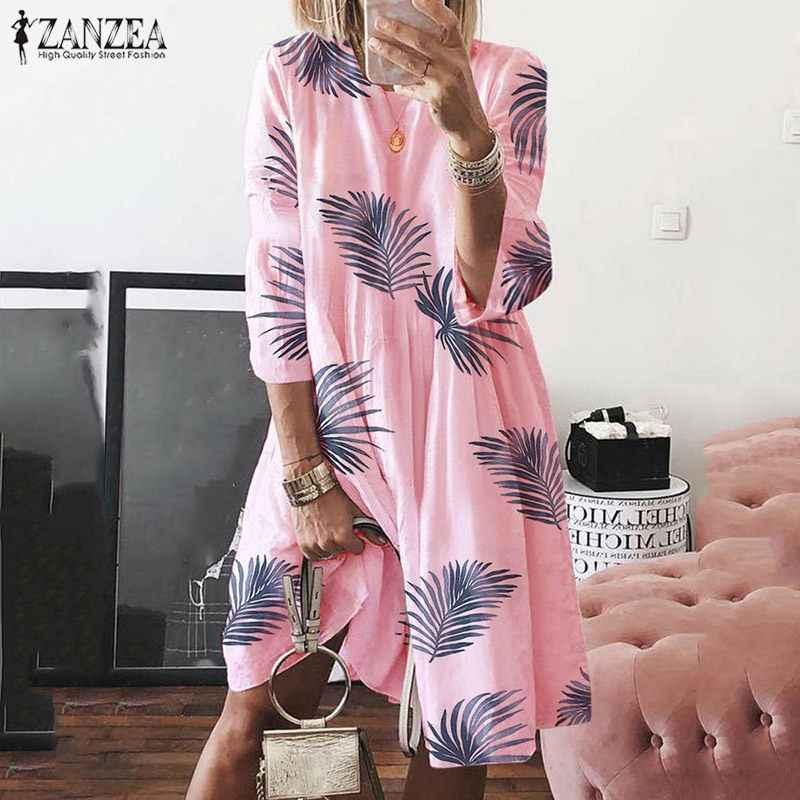 ZANZEA Plus Size 2019 Vrouwen Jurk Herfst Zomer Korte Vestido Vakantie 3/4 Mouwen Gedrukt Strand Dames Midi Shirt Jurken Kaftan