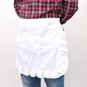 Bonito delantal de cocina de Cintura corta Floral con encaje medio babero de cintura disfraz de sirvienta con bolsillo recuerdos de fiesta de cocina para mujer camarera (Whit
