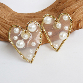 SOHOT Cute Romantic Heart Star Transparent Acrylic Women Stud Earring Colorful Chic Imitation Pearl Charm Brincos image