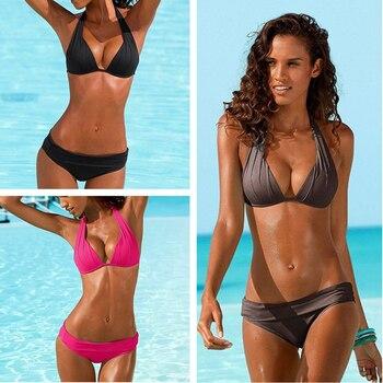 new 2020 patchwork bikinis set sexy plus size push up swimwear women bathing suit solid bikini swimsuit mujer brazilian biquinis Sexy Bikini 2020 Swimsuit Women Swimwear Push Up Black Bikini Set Vintage Biquini Summer Bathing Suit Brazilian Bikinis
