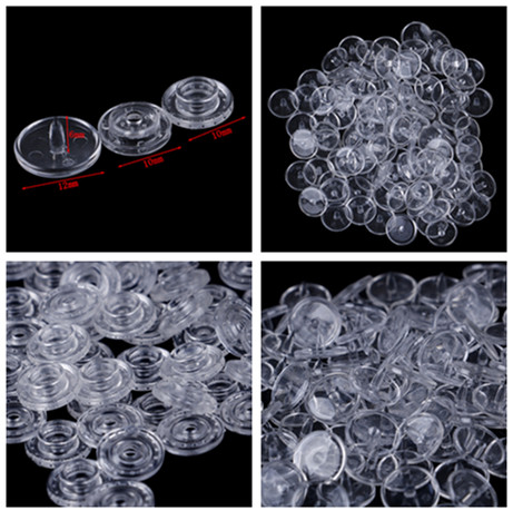 50 Pcs Clear Plastic Snaps Button Fasteners Sewing on Clothes DIY Hand Crafts