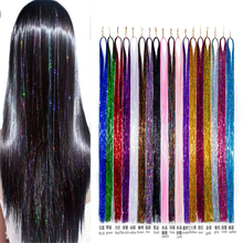 Tinsel Bling Hair Decoration Shiny Hair Synthetic Hair Extension Glitter Rainbow For Girls And Party 120cm 300 Strands/piece(China)