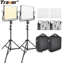 L4500 2 set Video Light With Tripod Dimmable 3200K 5600K Studio Photo Lamp LED Photography Lighting for Wedding News Interview capsaver 2 in 1 kit led video light studio photo led panel photographic lighting with tripod bag battery 600 led 5500k cri 95