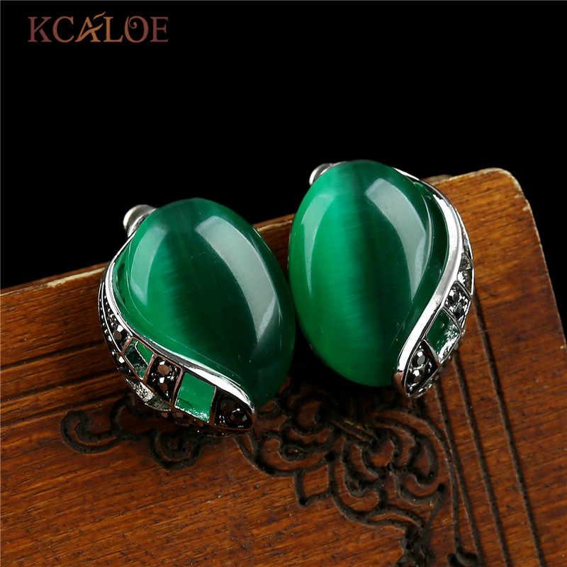 KCALOE Brincos แฟชั่น Vintage Big Green Stone ต่างหูหินโอปอลต่างหูผู้หญิง Rhinestone เครื่องประดับ Orecchini