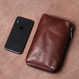 Vintage Men Clutch Bags Genuine Leather Casual Long Wallet Brown Credit Card Holder Small Phone Bag High Quality Purses NUPUGOO