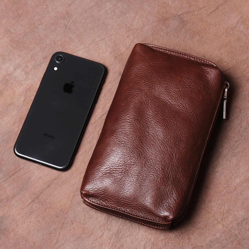 جلد طبيعي Vintage الرجال حقيبة صغيرة مقطع طويل محفظة الهاتف بطاقة عادية محفظة نسائية للعملات المعدنية رجل هايت نوعية أكياس صغيرة NUPUGOO