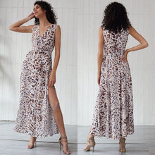 Sleeveless Leopard Pattern Printed Summer Dress Sexy Slit Long Boho Dress Maxi Dress Soft Beach Dress(China)
