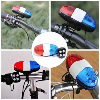 2020 Bicycle Accessories 6 LEDs 4 Tone Sounds Bicycles Bell Police Car Light Electronic Horn Siren for Kid Children Bike Scooter bicycle bike handlebar ball air horn trumpet ring bell loudspeaker noise maker free shipping