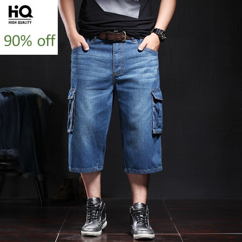 Fashion Casual Mens Calf-Length Jeans Shorts Men Summer Baggy Pockets Denim Shorts Plus Size Straight Cargo Pants Male Clothing
