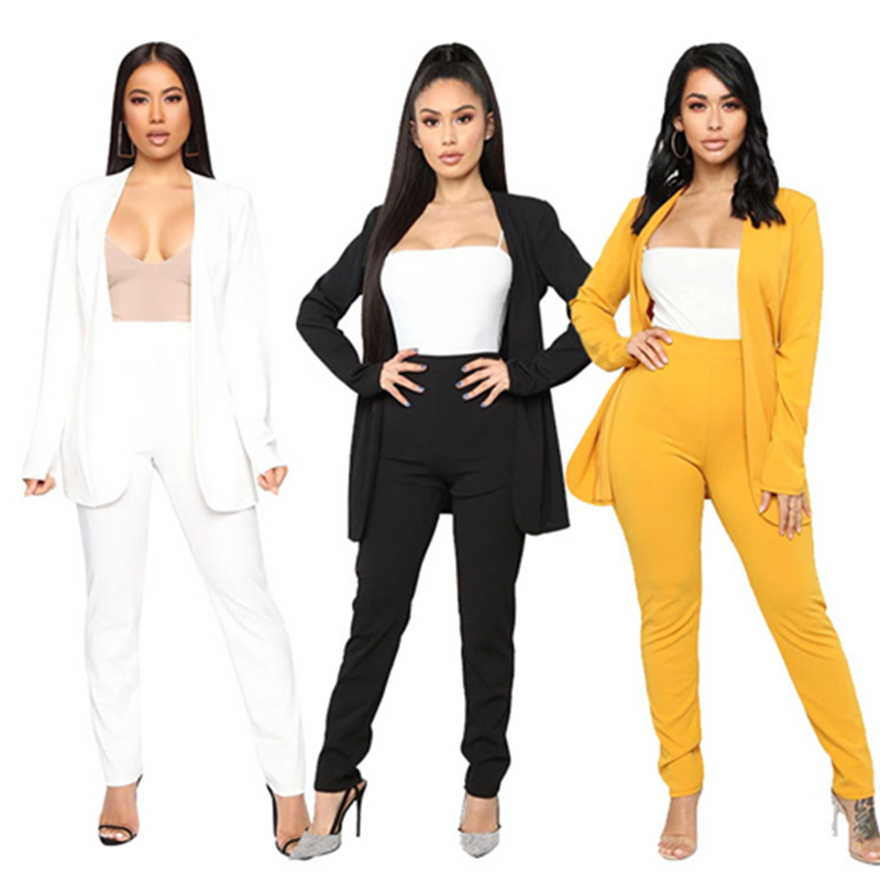 Women Blazer Suit Elegant Trouser Suit 2 Piece Ladies Pants Suit Business Office Female Solid Formal Suit Plus Size  White Black