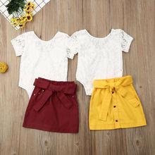 Girls Clothes Newborn Baby Girl Kids Short-Sleeved Lace Romper Skirt Summer Set 2PCS