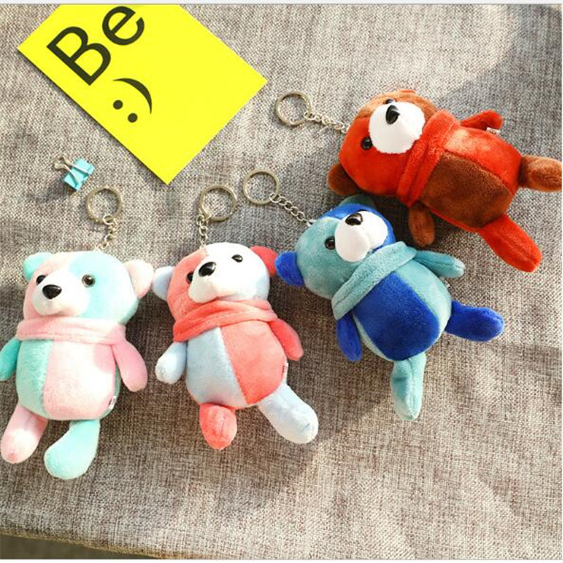 1 PCS New Color Matching Bear Plush Toys Pendant Doll Stuffed Animal Scene Layout Christmas Tree Decoration Holiday Gift For Gir