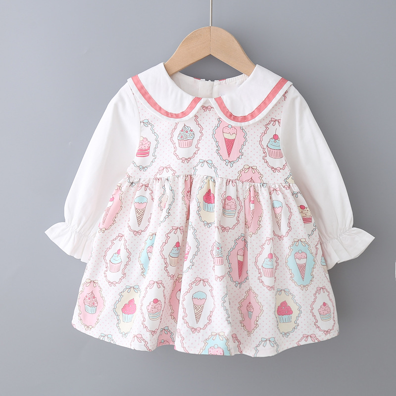 New Autumn Autumn Fall <font><b>Baby</b></font> <font><b>Girl</b></font> Cute <font><b>Dress</b></font> Long Sleeve Sweet Fashion Lapel Turndown Collar 1~<font><b>3</b></font> <font><b>Years</b></font> Childrean <font><b>Baby</b></font> Clothing image