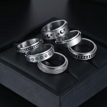 Personalizado 6mm/ 8mm rotatable anel básico para homens cor de prata aço inoxidável casual masculino anel girador punk elegante jóias