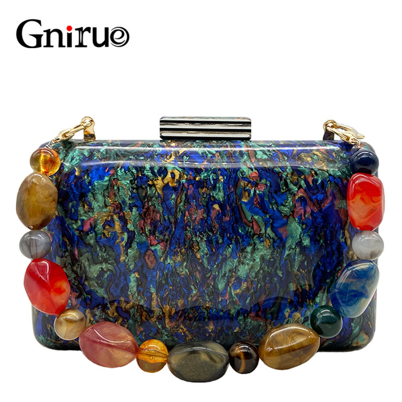 New Fashion Colorful Shell Marble Acrylic Clutch Bags Vintage Women Messenger Bags Ladies Elegant Evening Bags Party Handbags