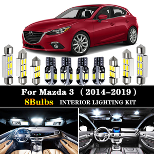 8Pcs Accessories Car interior lights upgrade Kit for 2014 2015 2016 2017 2018 2019 Mazda 3 led interior Dome Trunk lights(China)