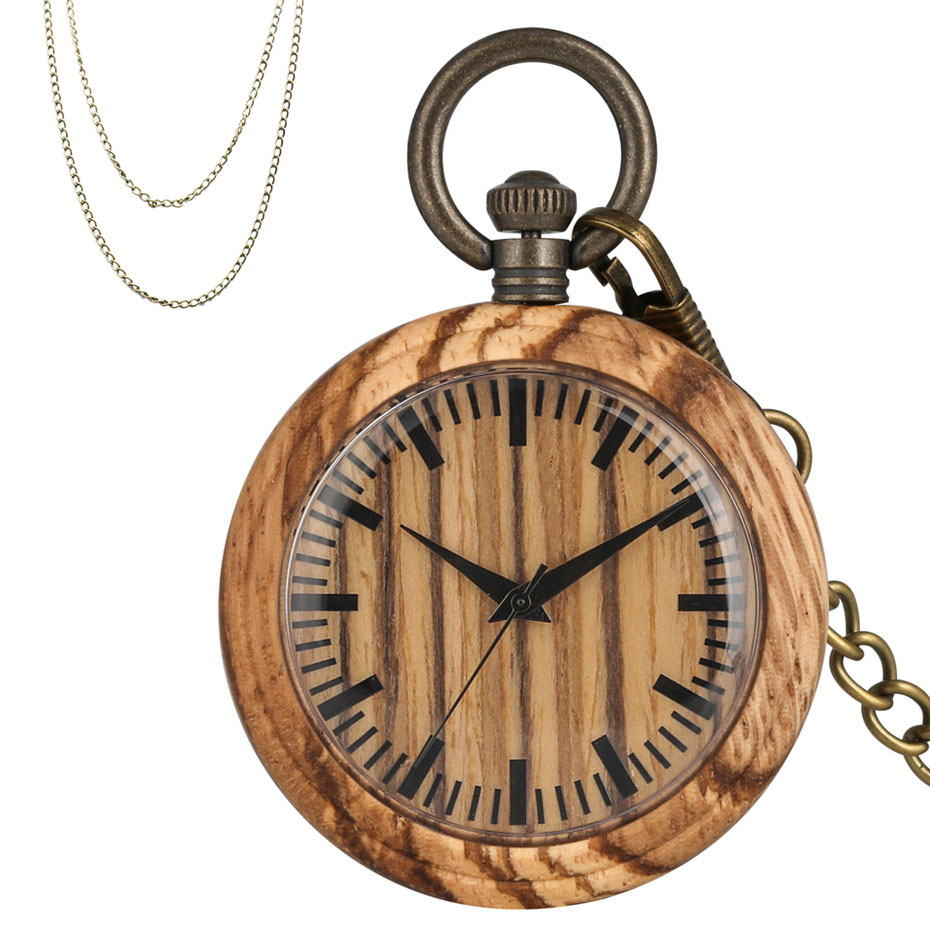 Classic Brown Wooden Quartz Pocket Watch Simple Round Dial Open Face Pendant Necklace Clock Gifts Men Women Bronze Chains