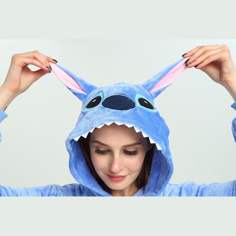 Image 3 - Adult Unicorn Pikachu Kigurumi Onesies Flannel Pajamas Family Party Halloween Animal Stitch Pijamas